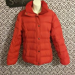 Lands End Down Feather Red Puffer Jacket Large